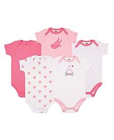 Baby Cotton Bodysuits, Bird Cage 5-Pack, 12-18 Months