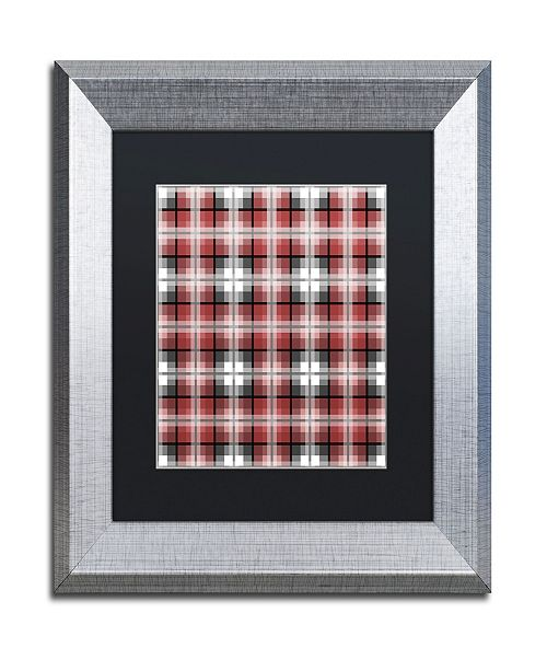 "Trademark Global Jennifer Nilsson Red Gray Check Matted Framed Art - 11"" x 14"" x 0.5"""