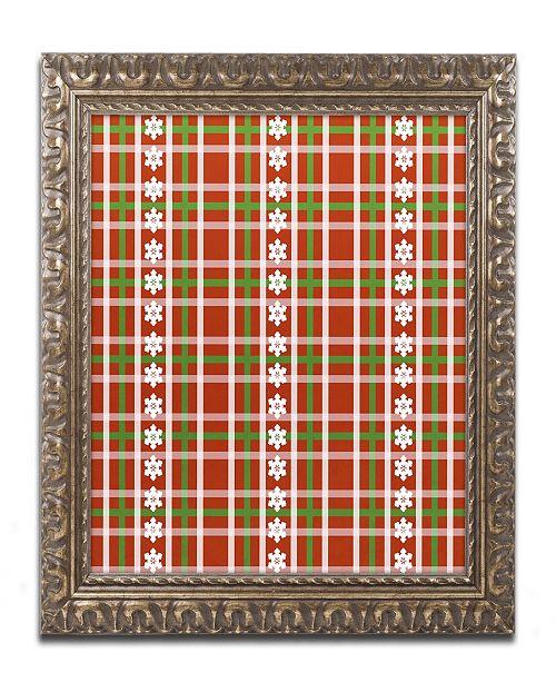 "Trademark Global Jennifer Nilsson Snow Plaid 2 Ornate Framed Art - 16"" x 16"" x 0.5"""