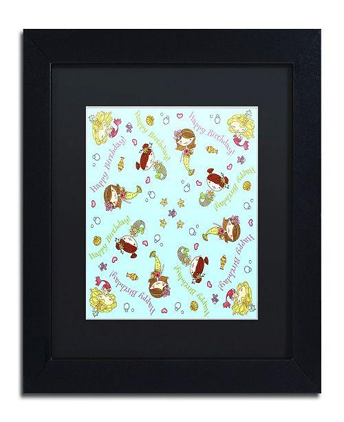 "Trademark Global Jennifer Nilsson Mermaid Birthday Matted Framed Art - 16"" x 16"" x 0.5"""