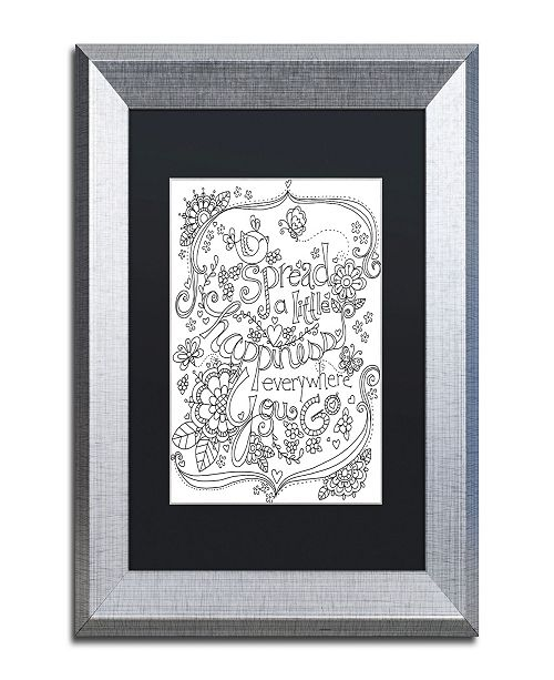"Trademark Global Jennifer Nilsson Spread Happiness Coloring Page Matted Framed Art - 16"" x 20"" x 0.5"""