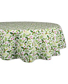"Boughs of Holly Print Tablecloth 70"" Round"