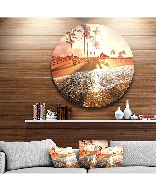 "Design Art Designart 'Colorful Tropical Beach With Palms' Beach Metal Circle Wall Art - 38"" x 38"""