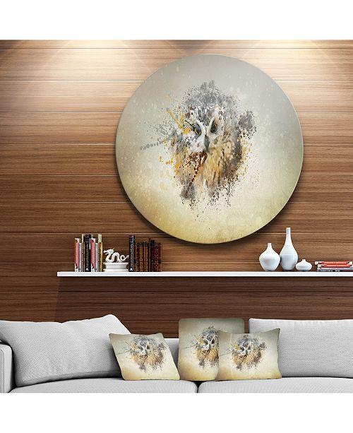 "Design Art Designart 'Large Gracing Owl' Ultra Glossy Animal Oversized Metal Circle Wall Art - 38"" x 38"""