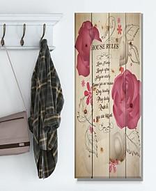 "Design Art 'House rules. Pink Rose Charter' Wood Wall Art - 20"" x 40"""