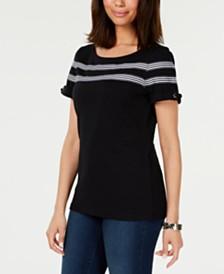 Karen Scott Striped-Ribbon-Trim Cotton Top, Created for Macy's