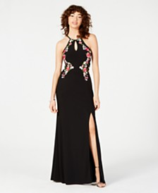 Morgan & Company Juniors' Embroidered Halter Gown