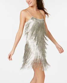 Rachel Zoe Metallic-Fringe Sheath Dress