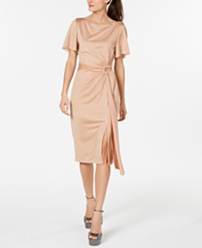 Rachel Zoe Shimmer Cutout O-Ring Dress
