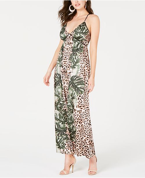 GUESS Paula Mixed-Print Maxi Dress