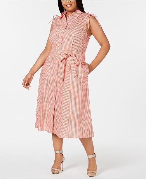 6e2f110dd3ced Calvin Klein Plus Size Gingham-Print Midi Shirt Dress   Reviews ...