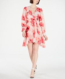 Calvin Klein Floral-Print Surplice Dress