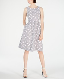 Calvin Klein Petite Embroidered Fit & Flare Dress