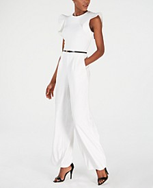 Belted Ruffle-Sleeve Jumpsuit, Regular & Petite Sizes