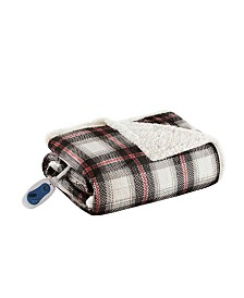 """Woolrich Ridley 60"""" x 70"""" Oversized Plaid Print Faux Mink to Berber Heated Throw"""
