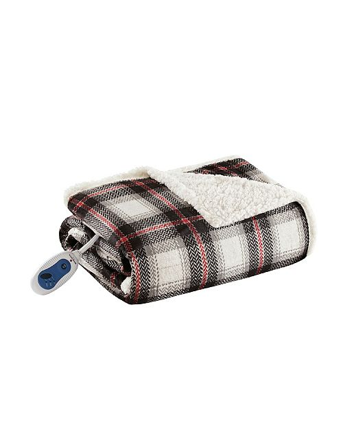 """Woolrich Ridley 60"""" x 70"""" Oversized Plaid Print Faux Mink to Berber Electric Throw"""