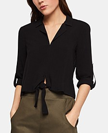 Tie-Front Rolled-Sleeve Blouse