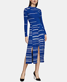 BCBGMAXAZRIA Cotton Pleated Sweater Dress