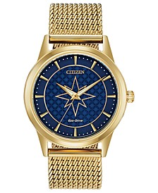 Eco-Drive Unisex Captain Marvel Gold-Tone Mesh Bracelet Watch 40mm