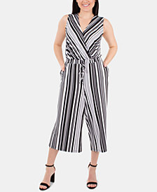 NY Collection Sleeveless Striped Gaucho Jumpsuit