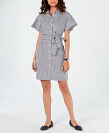 Tommy Hilfiger Belted Striped Shirtdress