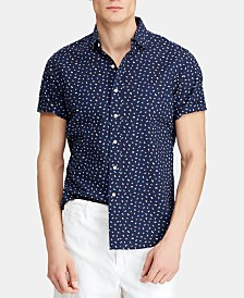 Polo Ralph Lauren Men's Classic-Fit Flag-Print Seersucker Shirt