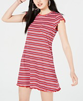 6a7b7def8 No Comment Juniors  Striped Lettuce-Edge Dress
