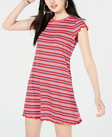 No Comment Juniors' Striped Lettuce-Edge Dress