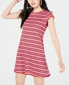 No Comment Juniors' Striped Lettuce-Edge Dress