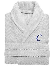 100% Turkish Cotton Personalized Unisex Herringbone Bath Robe - Light Grey