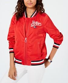 Tommy Hilfiger Sport Satin Logo Bomber Jacket