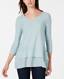 Vince Camuto V-Neck Layered Top