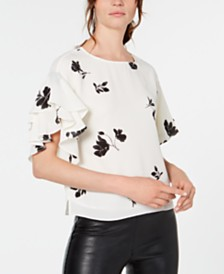 Vince Camuto Printed Ruffled-Sleeve Top