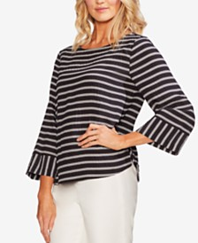 Vince Camuto Striped 3/4-Sleeve Top