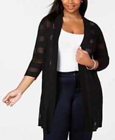 Belldini Plus Size Mesh & Metallic Stripe Duster Cardigan