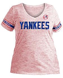 5th & Ocean Women's Plus New York Yankees Space Dye Sleeve T-Shirt