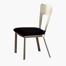 Contemporary Side Chair with Black Micro Fabric Seat - Set Of 2