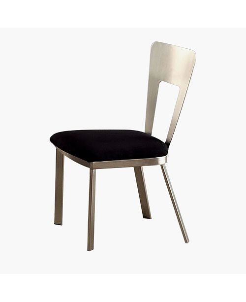 Benzara Contemporary Side Chair with Black Micro Fabric Seat - Set Of 2