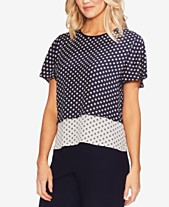 Vince Camuto Tiered Dot-Print Top