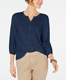 Style & Co Ladder-Trim Bubble-Sleeve Top, Created for Macy's