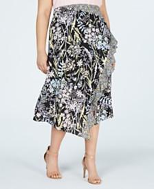 Calvin Klein Plus Size Printed Ruffle-Trim Skirt