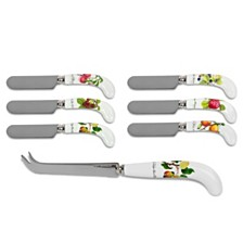 Portmeirion Pomona Cheese Knife & 6 Spreaders