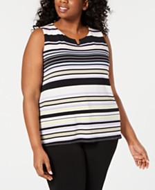 Calvin Klein Plus Size Striped Notch-Neck Top