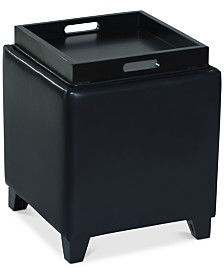Rainbow Bonded Leather Storage Ottoman, Quick Ship