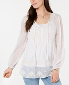 Style & Co Embroidered Peasant Top, Created for Macy's