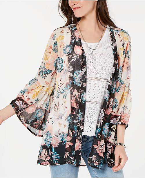 a9c466310 Style & Co Floral-Print Kimono, Created for Macy's & Reviews - Tops ...