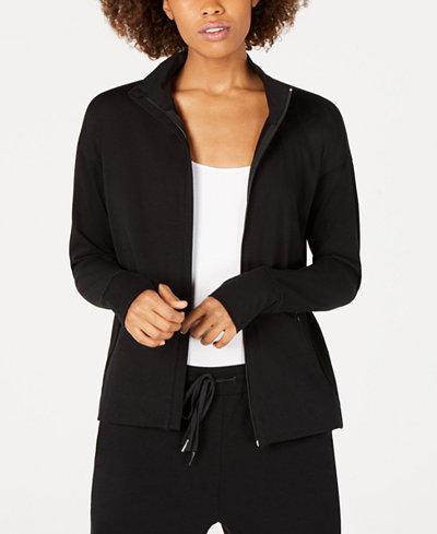 Eileen Fisher Cotton Funnel-Neck Zip Jacket