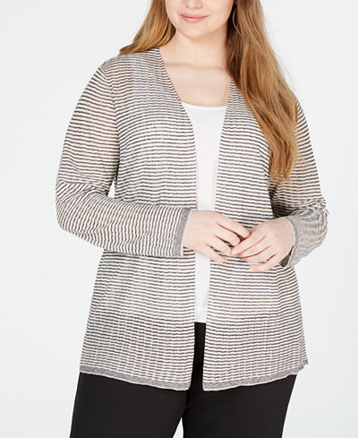 Eileen Fisher Plus Size Organic Linen Sheer Cardigan