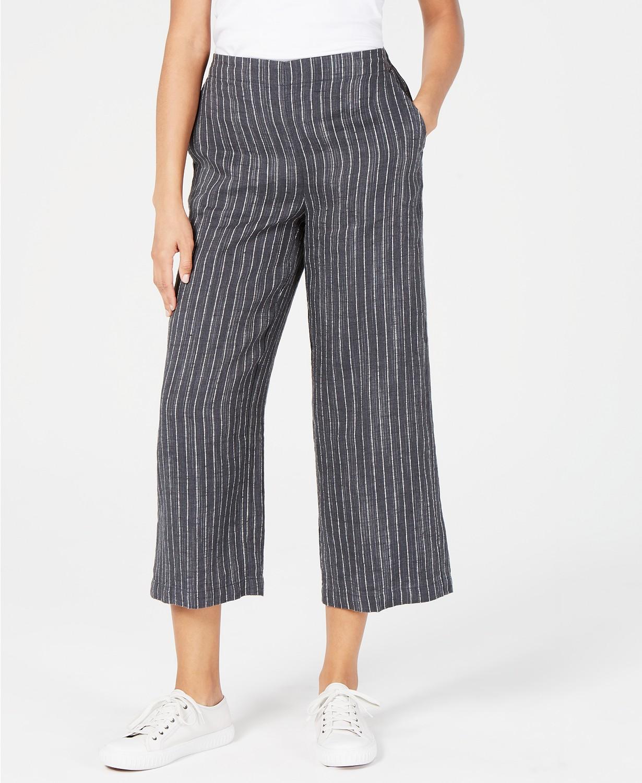 striped petite palazzo pants