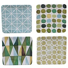 Mixed Greens Pattern 4-Pc. Canape Plate